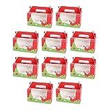 SOIMISS 10 Piezas Cajas de Panadería Navideñas con Inserto Y Ventana Cajas de Cupcakes Aptas para 2 Postres Pastel Muffin Donut Macaron Suministros para Fiestas de Navidad