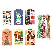 HEALLILY クリスマスクラフトギフトタグ1セットのぶら下げタグ雪だるまサンタパターンキャンディギフトタグクリスマスプレゼントラップパーティー用品