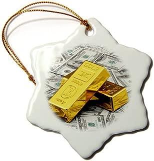 pansy 3-Inch Porcelain Snowflake Decorative Hanging Ornament, Gold Bars Bar Bullion Cash Money Dollar Hundred Bill Bills Bank Note Finance Concept