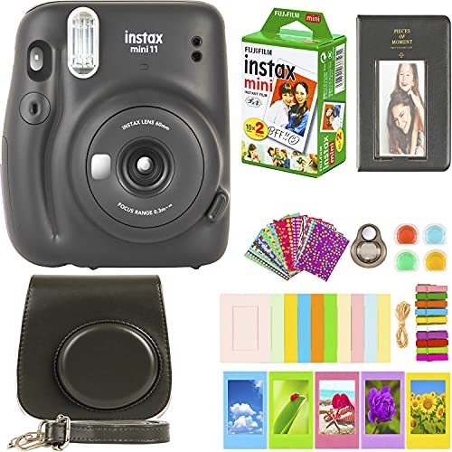 Fujifilm Instax Mini 11 Camera with Fujifilm Instant Mini Film (20 Sheets) Bundle with Deals Number One Accessories Including Carrying Case, Color Filters, Photo Album, Stickers + More (Charcoal Gray)