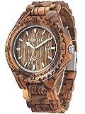 alienwork orologio unisex uomo donna legno zebrano rosolare analogico quarzo calendario data impermeabile legno naturale