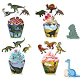 Dinosaurio Decoración Cupcakes, Envoltorio Cupcakes Cumpleaños 46 Piezas Dinosaurio Cupcake Dinosaurio Magdalenas para Niños Infantiles Fiestas de Cumpleaños Decoración Suministros