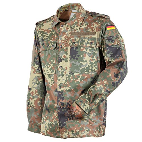 FLECKTEX Original Bundeswehr BW Feldbluse Flecktarn 5- Farbig für Männer | Outdoor Kampfbluse und Survival Bluse | Tactical Bluse und Security Bluse (13, Flecktarn 5- Farbig)