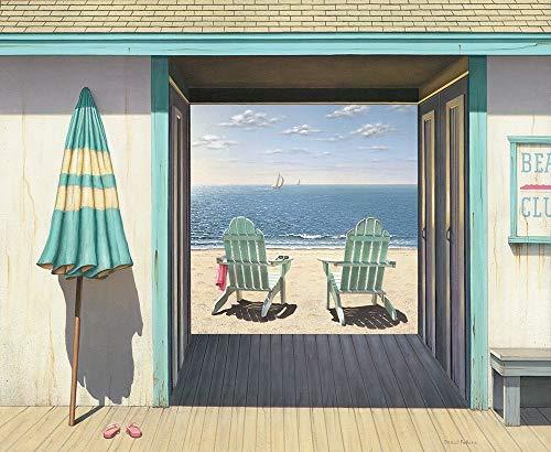 Feeling at home Imagen sobre Lienzo con Caja Americana El Beach Club Pollera Impresion enmarcada con Marco Costero Horizontal 83_X_101cm