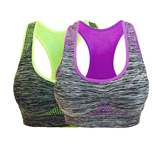 VANMO Confezione da 2 reggiseno sportivo senza cuciture da donna con tasca ad alto impatto, reggiseno per yoga e yoga viola, verde. 3D/4C/D/5A/B/6A (L)