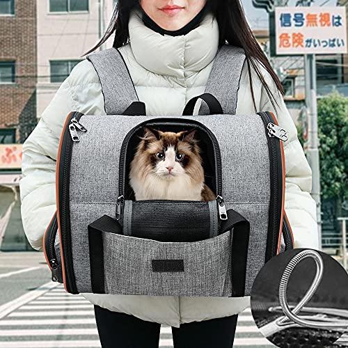 Ankun第二世代改良版猫 リュック 3WAY 手提げ、背負う、車の中で使用ペットキャリーバッグ、長時間背負って...