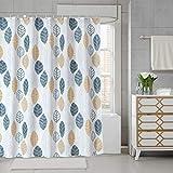 JRing Duschvorhang Textil 180x180 Gelb Blätter Schimmelresistenter & Wasserabweisend Shower Curtain mit 12 Weiß Duschvorhangringen