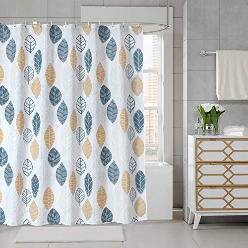 JRing Duschvorhang Textil 180x180 Gelb Blätter Schimmelresistenter und Wasserabweisend Shower Curtain mit 12 Weiß Duschvorhangringen