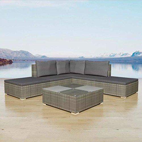binzhoueushopping Jeu de canapé de Jardin 15 pcs Gris extrêmement Confortables Dimensions du canapé Central 69.5 x 69.5 x 52.5 cm (l x P x H) fonctionnalité Résine tressée