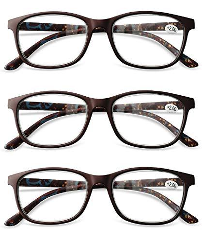 KOOSUFA Lesebrillen Set Damen Herren Federscharnier Brillen Vollrandbrille Lesehilfe Sehhilfe Arbeitsplatzbrille 1.0 1.5 2.0 2.5 3.0 3.5 4.0 (3 x Braun, 2.0)