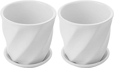 Set of 2 Contemporary Round White Ceramic Succulent Planter Pots w/Twisted Design