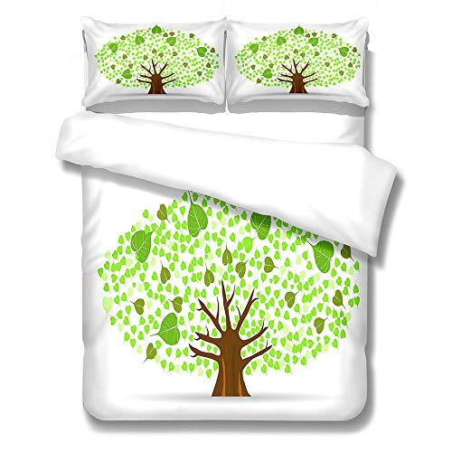 Bedding Set Duvet Cover and Pillowcase Green Tree Microfiber Boy Child Teenager Duvet Cover Zipper Closure 1 Quilt Bedding Set with 2 Pillowcases, Super King: 260x240 cm