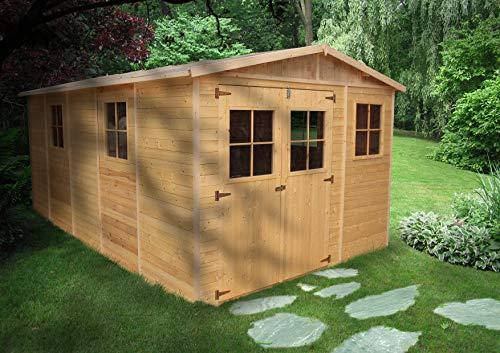 *TIMBELA M337 Blockbohlen Gartenhaus aus Holz – Kiefer/Fichte Chalet- 518×320 cm*