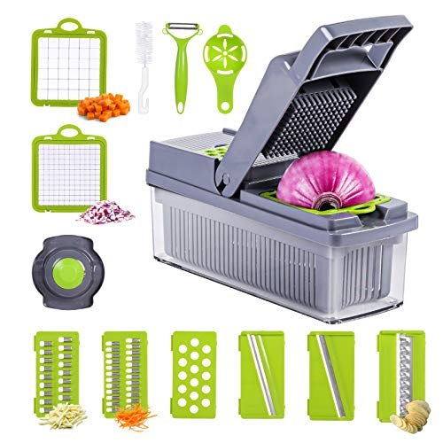 Vegetable Chopper, Multifunctional Veggie Chopper Cutter Onion Dicer Food Slicer Potatoes Peeler Cutter Salad Dicer Egg Slicers with Storage Container Fruit Washing Basket 12PCS in 1 Accessories