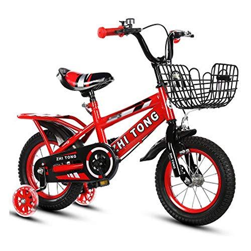 KaiKai Kinderfahrrad Leichte Kinderfahrrad High Carbon Steel Bike for Jungen und Mädchen-Geschenk-Blitz-Rad + Gift Pack (Color : Red, Size : 14in)