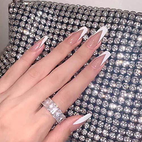 Unicra Ballerina False Nails Long Fake Nails Pink White Coffin Acrylic Wedding Press on Nails Stick on Nails for Women and Girls (24pcs) (Long)