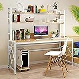 Escritorio de ordenador con portón y estantería que ahorra espacio resistente para el hogar, oficina, escritorio, mesa de escritura, ordenador portátil, estación de trabajo D 140 cm - 120 cm