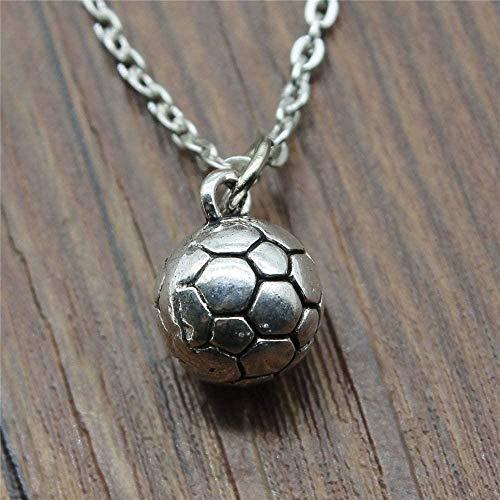 LBBYMX Co.,ltd Collar joyería Collar para Las Mujeres Plata Antigua Color 11x11x11mm 3D Bola de fútbol Colgantes Collar Femenino Regalo Collar de Moda