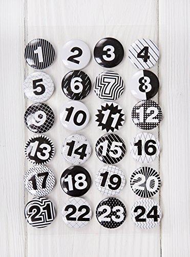 1a kwaliteit - 24 Adventskalender-cijfer-buttons in zwart wit Shabby stijl om zelf te knutselen; 1 tot 24; sticker van aluminium metaal plaatstaal - met een naald achter DIY