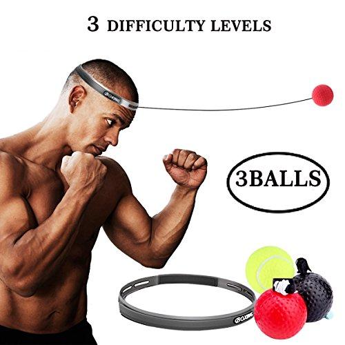 Asamoom Boxe Fight 3 Ball Reflex per Migliorare Le Reazioni di velocità e la Coordinazione Occhio Mano Boxing Punch Equipment per Boxe, MMA e Altri Sport di Combattimento e Fitness