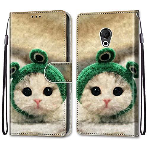 LEMORRY Handyhülle für Meizu 15 Lite, M15 Hülle Leder PU Flip Hülle mit Standfunktion & Magnetisch Kartensteckplatz Tasche Schutzhülle für Meizu 15 Lite, M15, Süße Katze