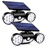 Ambaret Outdoor Solar Lights, 30 LED Solar Security Lights with Motion Sensor Dual Head Spotlights IP65 Waterproof 360° Adjustable Solar Motion Lights Outdoor for Yard Garden Garage Patio, 2 Pack