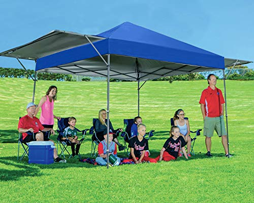 MASTERCANOPY Pop Up Canopy Tent 10x17 FT Instant Canopy with Adjustable Dual Half Awnings to Creat 170 Square feet of Shade Coverage; Sandbags,x4,Tent Stakes x8(Blue)