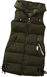 Womens Regular-Fit Classic Zipper Quilted Hooded Pockets Sleeveless Midi Jackets Down Vest