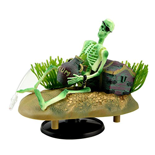 Aquarium Ornament Saim Drunken Pirate Skeletons Live Action w/Bonus