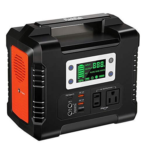 330W Portable Power Station, Flashfish 300Wh/81000mAh Solar Generator With 110V AC/DC/USB/PD-Type-c/Car Port/SOS Light, Backup Battry Emergency Power Supply For Camping Home CPAP Adventure Emergency