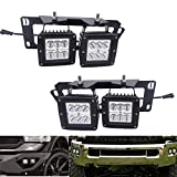 XJMOTO 4X 3 Inch 18W Dually LED Fog Light Pods with Quick-Detach Wiring Plug and Fog Lamp Location Mounting Bracket Fits for Dodge 2010-2019 Ram 2500 3500, 2009-2012 Ram 1500