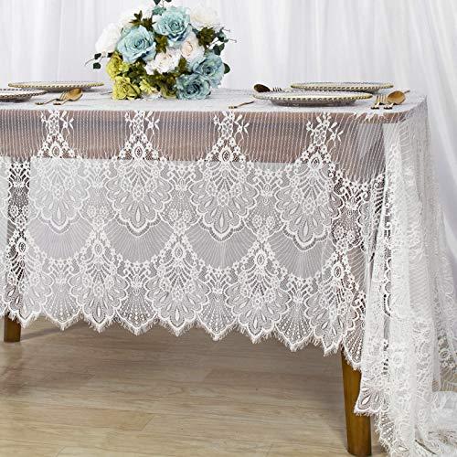 ShinyBeauty -Mantel de encaje blanco de 60 x 120 pulgadas, mantel de mesa para banquete de boda,...