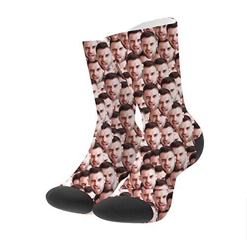 Lustige Socken mit Foto Gesicht Personalisiert Socken Unisex Erwachsene 32/36/41 Lässige Socken mit Ihr eignen Foto, bunten Farben und süße Herzen Funny Weihnachten Geschenk für Frauen Männer Freunde