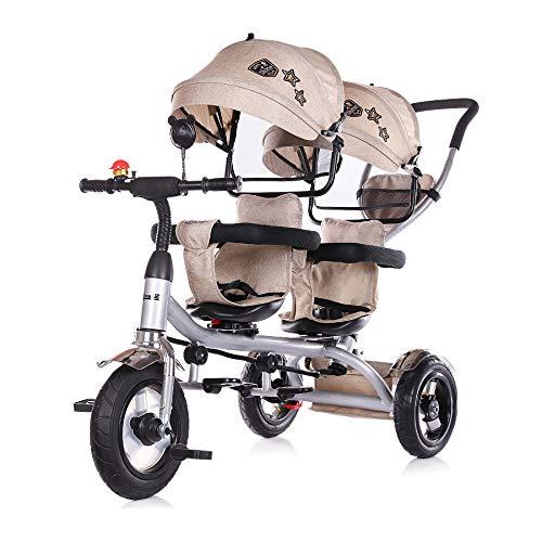 Chipolino Tricycle, Tricycle, 2Play, pour Jumeaux, pneus, Guidon, jusqu'à 50kg, Coloris:Beige