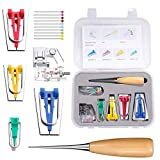 Bias Tape Maker Set, Neo LOONS Sewing Fabric Bias Tape Maker Tool Kit with Binder Foot, 6MM 12MM 18MM 25MM 4 Sizes DIY Patchwork Sewing Accessories Tools Set for Quilt Binding