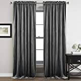StangH Gray Velvet Curtains 96 inches - Bedroom Luxury Velvet Curtain Panels Blackout Draperies Heat Insulated Sliding Door Panel Drapes, 52 by 96 inches Long, 2 Panels