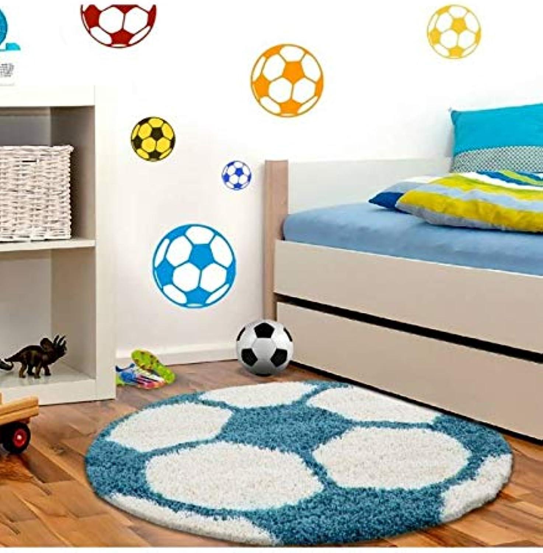Kinderteppich für Kinderzimmer Fussball Basketball Basketball Basketball Hochflor Teppich - Türkis-Weiss, 120x120 cm Rund B07GZHFXDN aed3d8