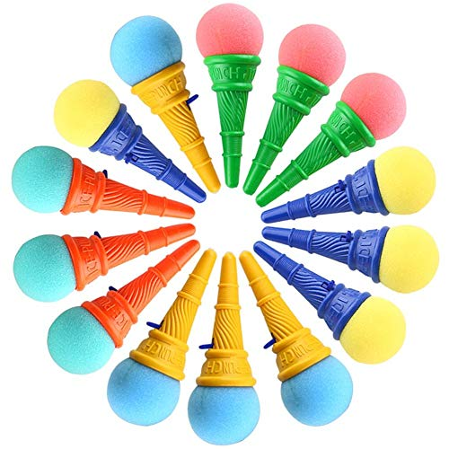 LovesTown 14 Pcs Ice Cream Shooters Toy, 7inches Ice Cream Poppers Icecream Cone Foam Ball Launcher Ice Cream Party Favors for Carnival Prize
