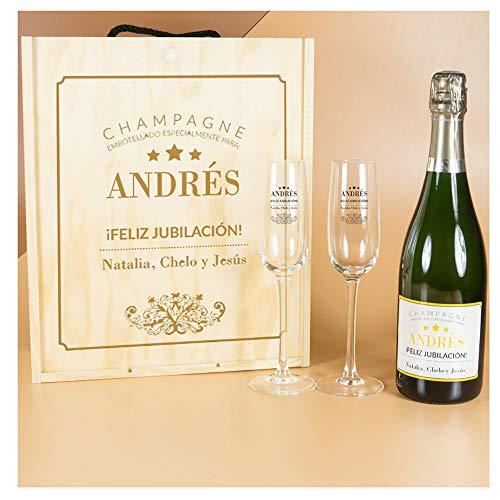Calledelregalo Regalo Elegante para jubilación: Kit Personalizado con Botella de champán + Copas de champán en Caja de Madera
