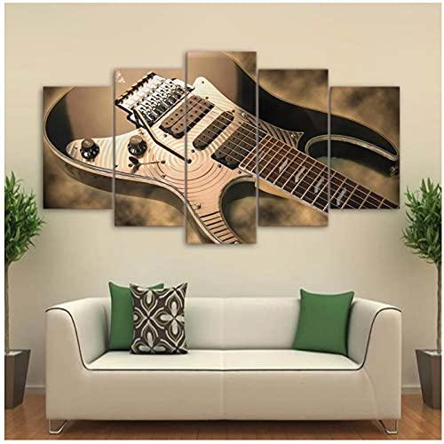 Xuetaozz Lienzo Cuadros de arte de pared Decoración para el hogar Sala de estar 5 piezas Guitarras Pantalla Pintura Impresiones en HD Póster de instrumentos musicales - 30x50 30x70 30x80cm Sin marco
