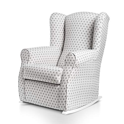 SUENOSZZZ-ESPECIALISTAS DEL DESCANSO Balancín Mecedora Olivia sillón para Lactancia tapizado en Estampado Blanco con Estrella Gris