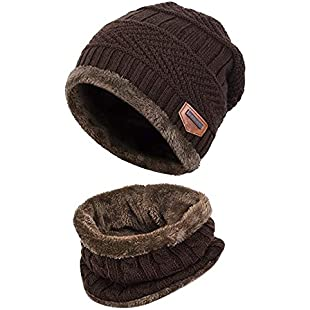 Winter Hat Hat and Scarf Sets for Men & Women Fall/Winter Hat Double Layered Warm Knitted with Nap Cloth Ski Outdoor Sports Unisex Chunky Soft Thicken Crochet Knit Skull Cap Hat Beanie Snood (Coffee):Mytools