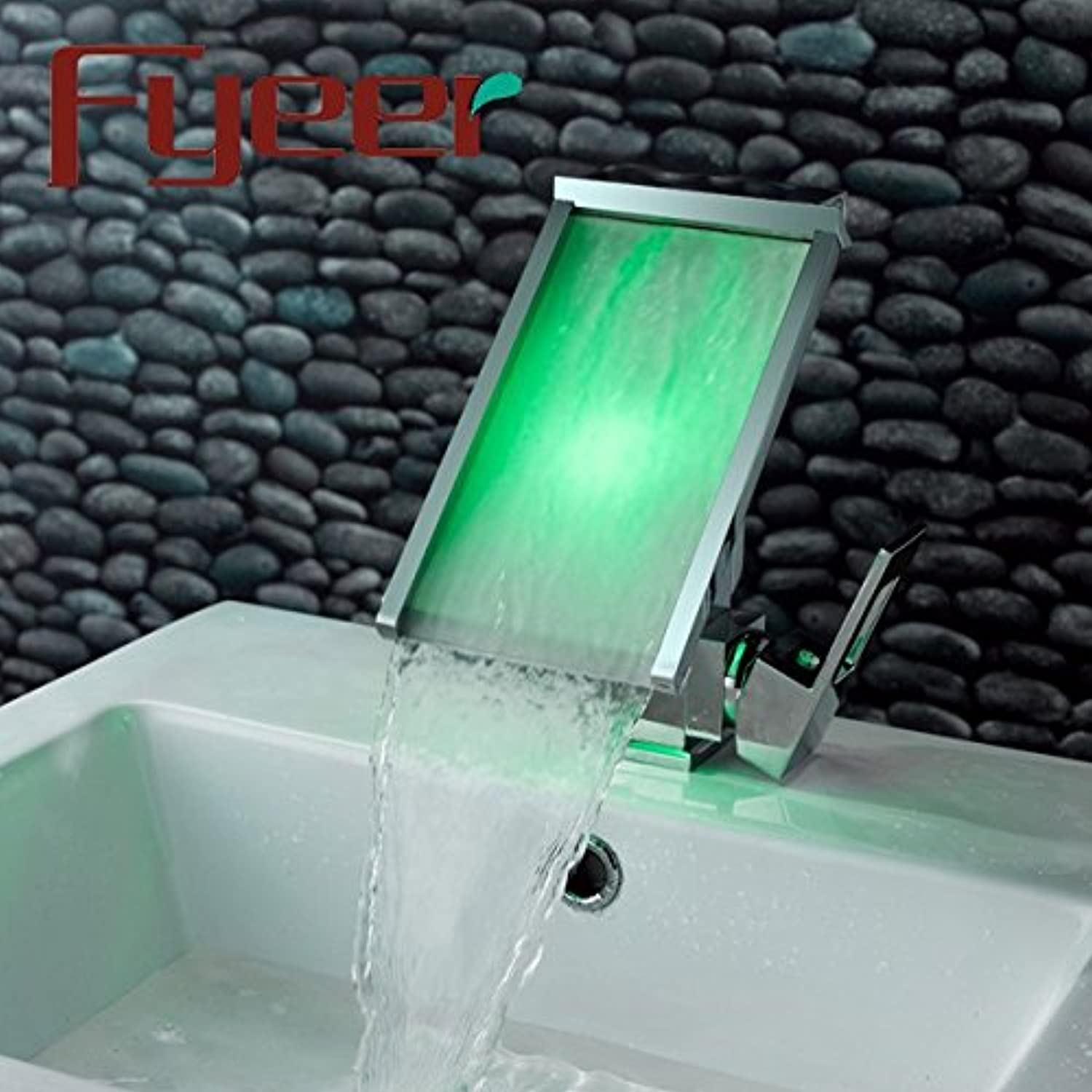 Hlluya Professional Sink Mixer Tap Kitchen Faucet The waterfall faucet temperature control ld light water warm glowing waterfall faucet Mixer Taps