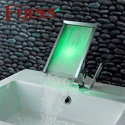 WATER TOWER Waschtischarmatur Waschbecken Mischbatterie Bad Armatur,Wasserfall Wasserhahn Temperaturregelung Led-Licht Beleuchtet Wasserfall Wasserhahn Mischbatterie