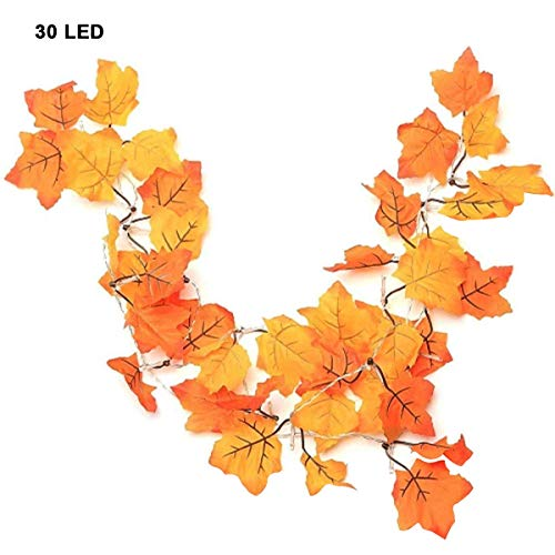 Hihey Ahornblad lichtkettingen 30 LED esdoornblad lichtkettingen herfst esdoornblad slinger voor outdoor thuis Kerstmis decoratie Thanksgiving Decoratie (3 x AA batterijen (niet inbegrepen))