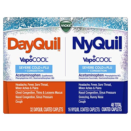 DayQuil and NyQuil SEVERE with Vicks VapoCOOL Cough, Cold & Flu Relief, 48 Caplets (32 Dayquil, 16 Nyquil) - Sore Throat, Fever, and Congestion Relief, Day or Night, (Packaging May Vary)