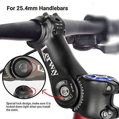 Lerway Bicycle Handlebar 31.8 MTB Short Stem Bike Adapter 45mm Aluminum Black