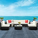 HONBAY 7 Pieces Patio Furniture Sets PE Wicker Rattan Patio Sectional Sofa Couch with Cushions and Coffee Table for Outdoor(Beige)