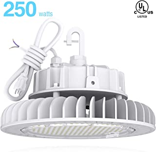 HYPERLITE White Fixture High Bay LED Lights 250W 4000K 33,750lm CRI>80 1-10V Dimmable 5' Cable with 110V Plug Hanging Hook Safe Rope UL/DLC Approved for Shopping Mall Stadium Exhibition Hall