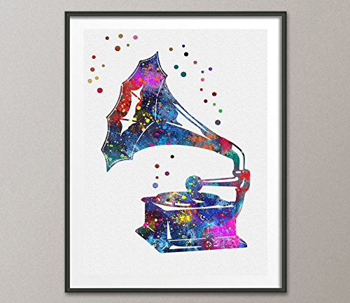 Vintage Gramophone Watercolor Poster Music Art Prints Wall Decor Artworks Wall Art Dining Room Art Wall Hanging Kitchen Decor House Warming Gift